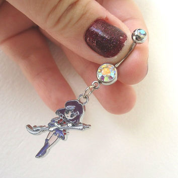 Sailor Moon Bellybutton Piercing - SAILOR SATURN - Belly iridescent botton jewelry