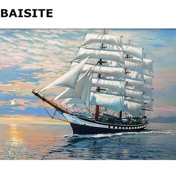 BAISITE Seascape DIY Oil Painting By Numbers On Canvas Frameless Modern Wall Pictures For Living Room Home Decor Wall Art H313