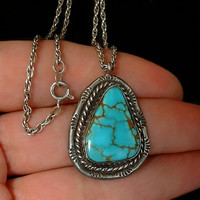 Vintage NATIVE American Turquoise NECKLACE Pendant Navajo Sterling Silver Chain Hallmarked c.1950s
