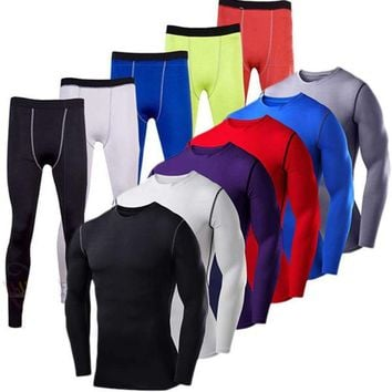 Men's Body Armour Compression Shirt Tops Pants Base Layer Sports Tights Gym Gear