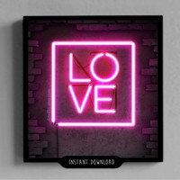 LOVE, Mothers Day, gift for her, him, poster, neon, pink, light, decoration, decor room, wall, instant download