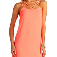 Neon Caged Chiffon Shift Dress by Charlotte Russe - Bright Coral