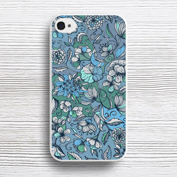 Hand drawn Floral in Blue, Grey & Mint Green case iPhone 4s 5s 5c 6s 6 Plus Cases, Samsung Case, iPod 4 5 6 case, HTC case, Sony Xperia case, LG case, Nexus case, iPad case