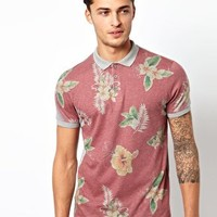 ASOS Polo With Red Hawaiian Print at asos.com