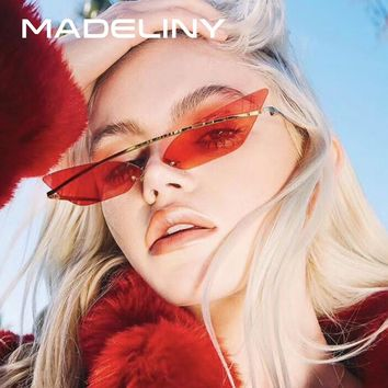 MADELINY 2018 Narrow Cat Eye Women Sunglasses Fashion Rimless Vintage Ocean Lens Coating Mirror Female Sun Glasses MA207