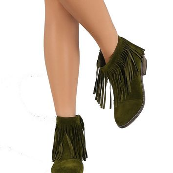 Olive Green Fringe Round Toe Cowgirl Vegan Suede Ankle Women's Boots