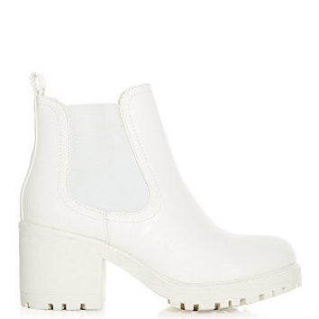 White Chunky Cleated Sole Chelsea Boots