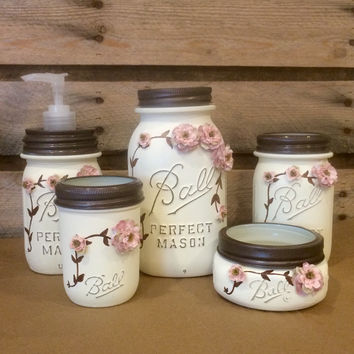 Shabby Chic Mason Jar Bathroom Set, Mason Jar  Desk Set, Mason Jar Office decor, Ivory Mason Jar Set, 5 Piece Vintage Mason Jar Vanity Set