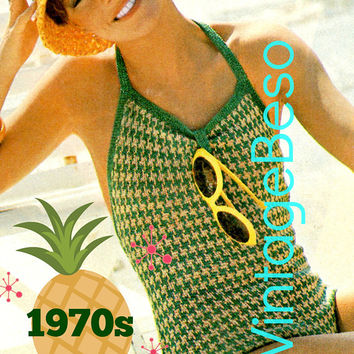 Digital Pattern - PdF - 1970s Checkered Bathing Suit KNITTING Pattern Sexy Swimsuit Maillot Vintage One Piece Swimwear VintageBeso