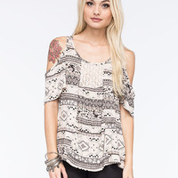 Full Tilt Ethnic Flounce Womens Top Cream Combo  In Sizes