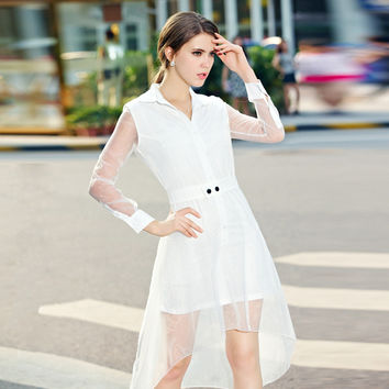 V-neck Mesh Long Sleeve Asymmetrical A-Line Midi Dress in White
