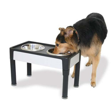 """Our Pets Signature Series Dog Elevated Panel Feeder Black / Gray 23"""" x 12.5"""" x 8"""""""