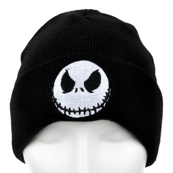 Jack Skellington Evil Grin Cuff Beanie Nightmare Before Christmas Knit Cap