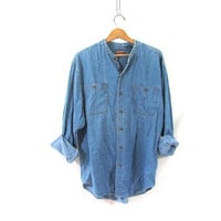 vintage jean shirt. oversized denim shirt. button down shirt. denim pocket shirt.