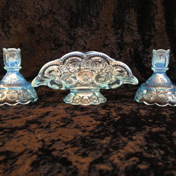 3 pc Vintage L.E.Smith Ice Blue Opalescent glass Moon & Stars Banana Basket Boat and 2 Candlestick holders centerpiece