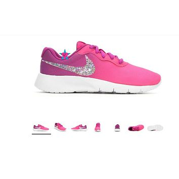 Crystal Bedazzled Nike Little Kid Tanjun Fade Pink 10.5-3
