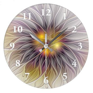 Luminous Colorful Flower, Abstract Modern Fractal Large Clock