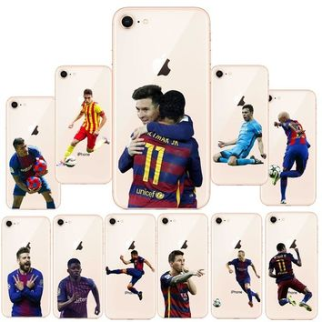 Barcelona Messi Soccer player Neymar ronaldo Mo Salah Phone Cases For Apple iPhone 5S SE 6 6S 7 7Plus X Soft silicone TPU Cover