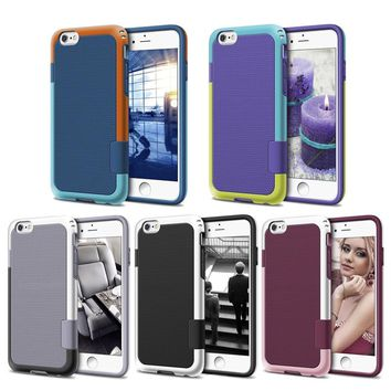 Shockproof Hybrid Rugged Protective Cover For iPhone 8 7 6 6S Plus Case Durable 2 in 1 Stitching Color PC + Silicone Phone Cases