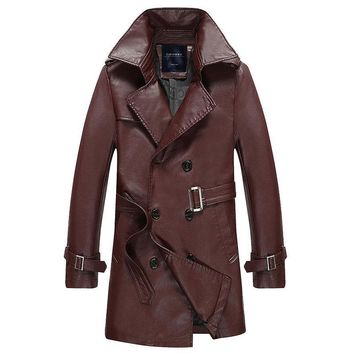 Classic Fashion Men Long Trench Coat Motorcycle Jacket Vintage Windproof Thick British Businessmen Style Gentleman
