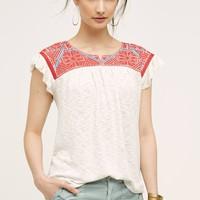 Evin Embroidered Top, Red
