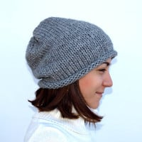 Gray chunky hand knit hat / wool hat / winter accessory / gray slouchy hat