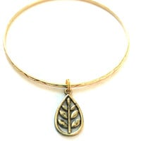 Leaf Charm Bracelet - Alex and Ani Inspired - Gold Jewelry - Stacking Bangles