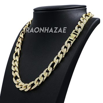 "Hip Hop Fully Iced Mens 12mm Heavy Figaro Chain (Multiple Sizes 9""-36"")"