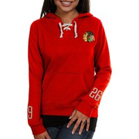 Old Time Hockey Chicago Blackhawks Ladies Queensboro Lace-Up Pullover Hoodie Sweatshirt - Red