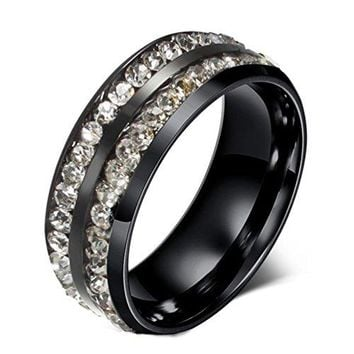 8mm Black Titanium Stainless Steel Zirconium Wedding Ring Channel Set Cubic Zirconia CZ Engagement Promise Band