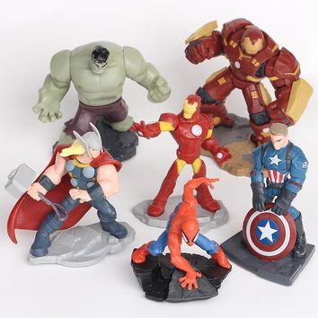 NEW hot 10cm 6pcs/set Avengers iron Man Spiderman Thor Hulk Hulkbuster Captain action figure toys collection