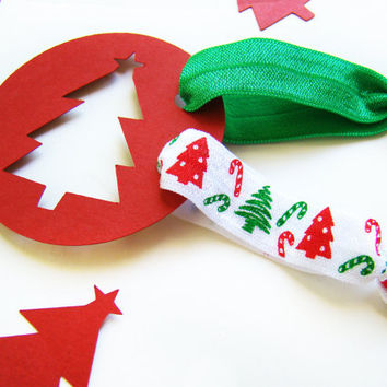 Christmas Elastic Hair Ties, FOE, Red and Green, Holiday Hair Ties, Creaseless Hair Ties, Stocking Stuffers, Christmas FOE, Winter Hair Ties