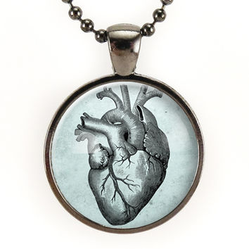 Anatomical Heart Necklace On Blue