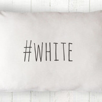 Hashtag White Lumbar Pillow Cover - Cottage Pillow, White Pillow, Farmhouse Pillow, Hashtag Pillow, 12 x 16, 12 x 18, 14 x 20