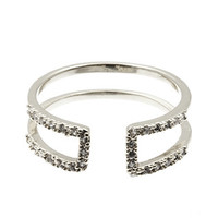 Silver Double Bar Stone Ring