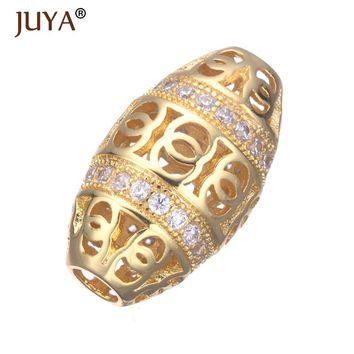 Supplies For Jewelry Hollow Oval Bead Copper CZ Beads Fit Original Bracelet Necklace Jewellery Making DIY Accessories Findings