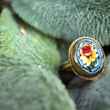Antique Micro Mosaic Ring Colorful Roses Shabby Chic Gifts for HerVintage Accessories Womens Jewelry