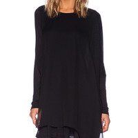 Heather Silk Front Shift Dress in Black