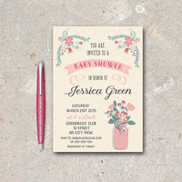 Mason Jar Baby Shower Invitation Printable, Digital File - Floral Pink & Mint Baby Shower Invite, Rustic Baby Shower Invite