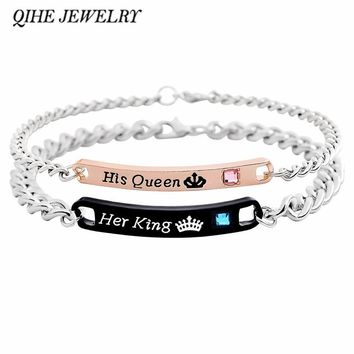 QIHE JEWELRY Couple bracelet Engraved letters His queen&Her king crown tiara with rhinestone bracelet Women man bracelet