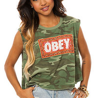 Obey Cropped Tee Magic Carpet Vintage in Camo
