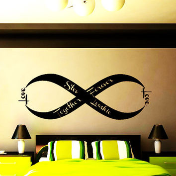 Love Infinity Symbol Wall Decals Family Established Date Bedroom Decal Vinyl Stickers Home Bedroom Decor Wedding Gift T75