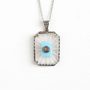 Antique Art Deco Camphor Glass Necklace - Vintage Sterling Silver 1920s Frosted Baby Blue Glass Flower Rhinestone Pendant Jewelry