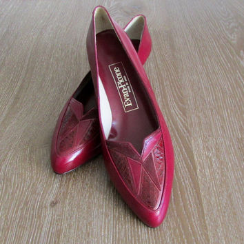 Vintage Evan Picone Burgandy Red Kitten Heels