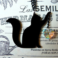 Black Acrylic Cat Playing Necklace