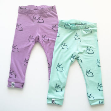 Baby girl leggings, baby boy leggings, kids leggings, toddler leggings, easter leggings, bunny leggings