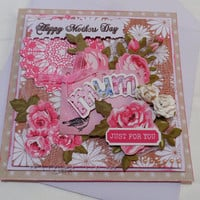 Cards 3 dimensional # Mothers day Card # Mixed Media Cards # Handmade Cards # Made in Australia # unique cards # Happy Mothers Day Card
