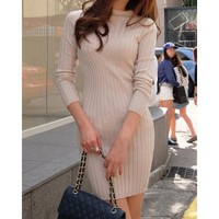 Casual Jewel Neck Solid Color Packet Buttock Knitted Long Sleeve Women's Dress | Kitty's Clawset