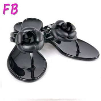 Jelly Flip Flops Designer Camellia Jelly Slippers Summer Women Beach Sandals Flats Cry