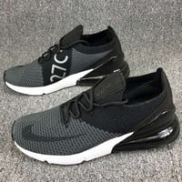 Nike Air Max 270 Knitted Flying Lines Half Palm Damping Air Cushion Sneakers F-CSXY